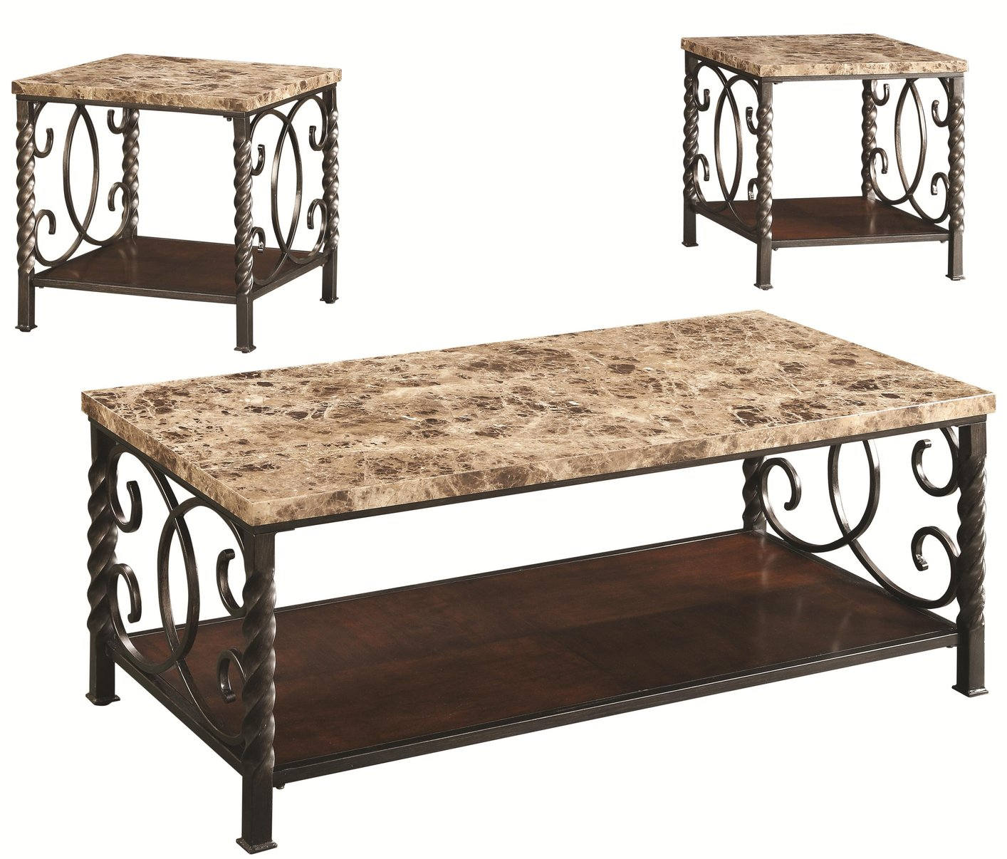 Marble Coffee Table Leather Sofa: Coaster Lockhart 701695 Brown Marble Coffee Table Set