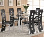 Los Feliz Black & Matte Silver Metal And Glass Dining Set