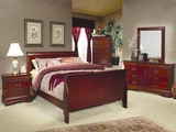 Louis Philippe Cherry Wood Queen Bed Set