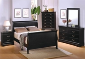 Louis Philippe Deep Black Wood Eastern King Bed Set