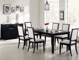 Louise Black Wood Dining Table Set