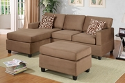 Ellie Saddle Fabric Sectional Sofa and Ottoman
