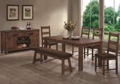 Maddox Rustic Brown Wood Dining Table Set