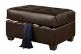 Cire Brown Leather Ottoman