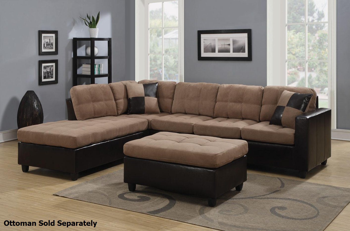 Coaster Mallory 505675 Beige Fabric Sectional Sofa Steal