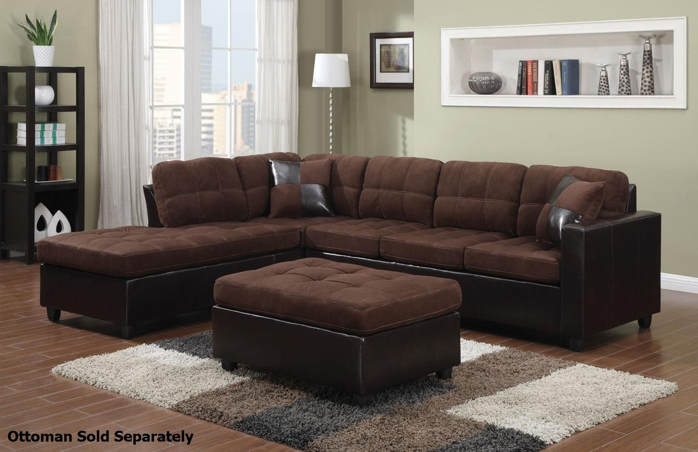 Coaster Mallory 505655 Brown Fabric Sectional Sofa Steal