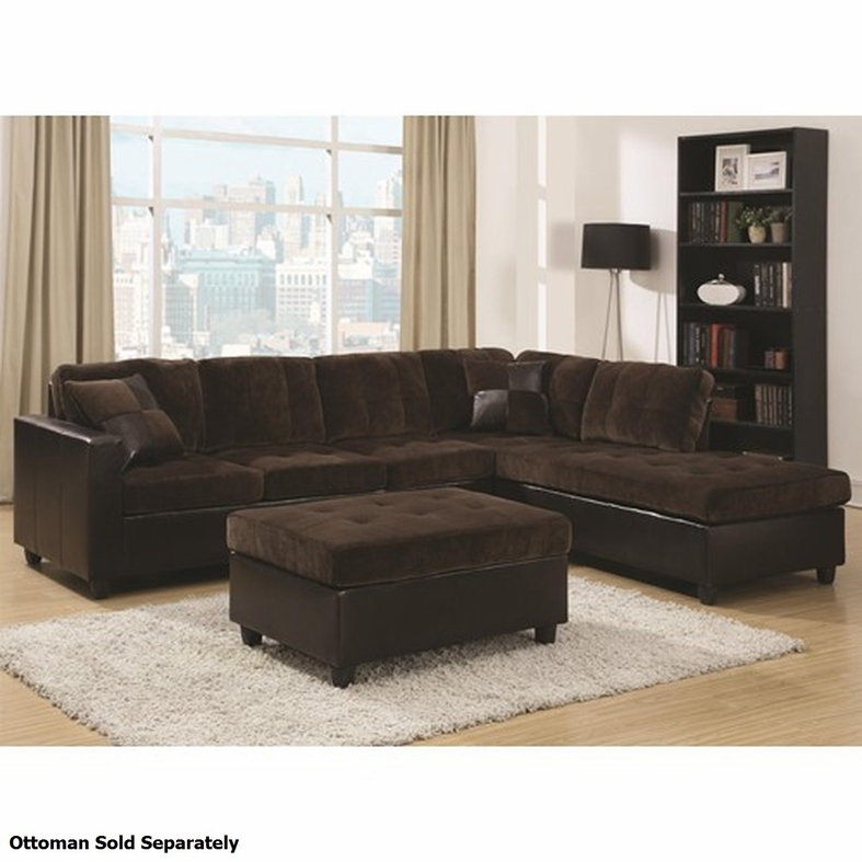 Coaster Mallory 505645 Brown Fabric Sectional Sofa