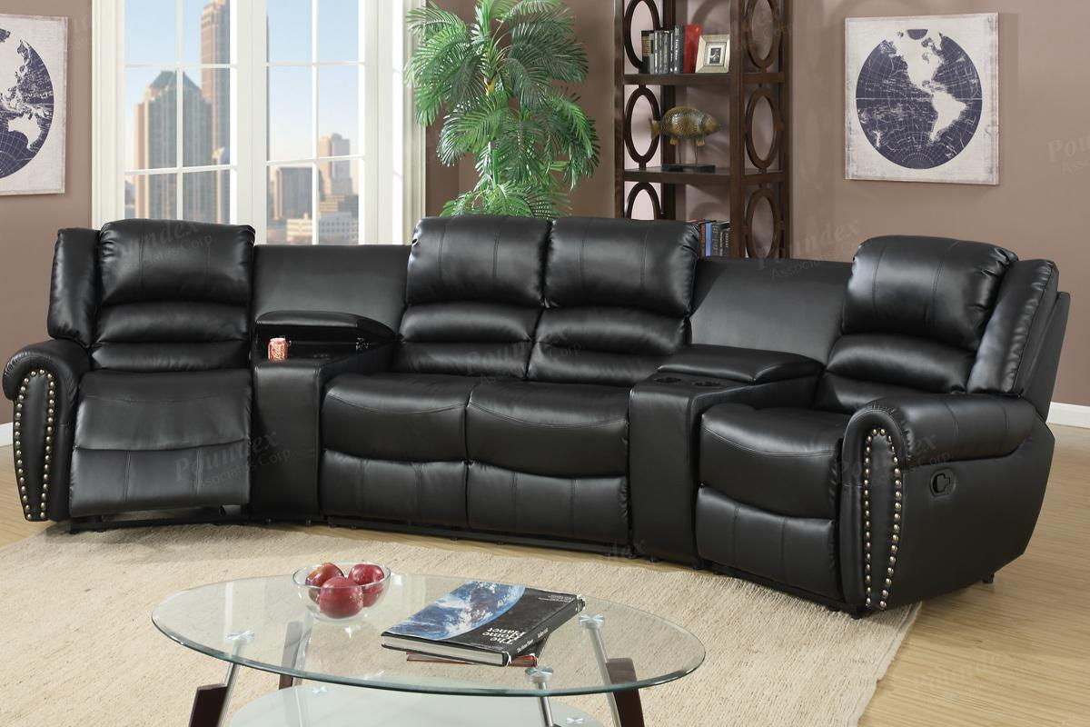 Poundex Malta F6747 Black Leather Reclining Sectional