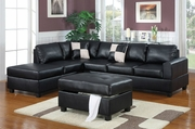 April Black Leather Sectional Sofa and Ottoman