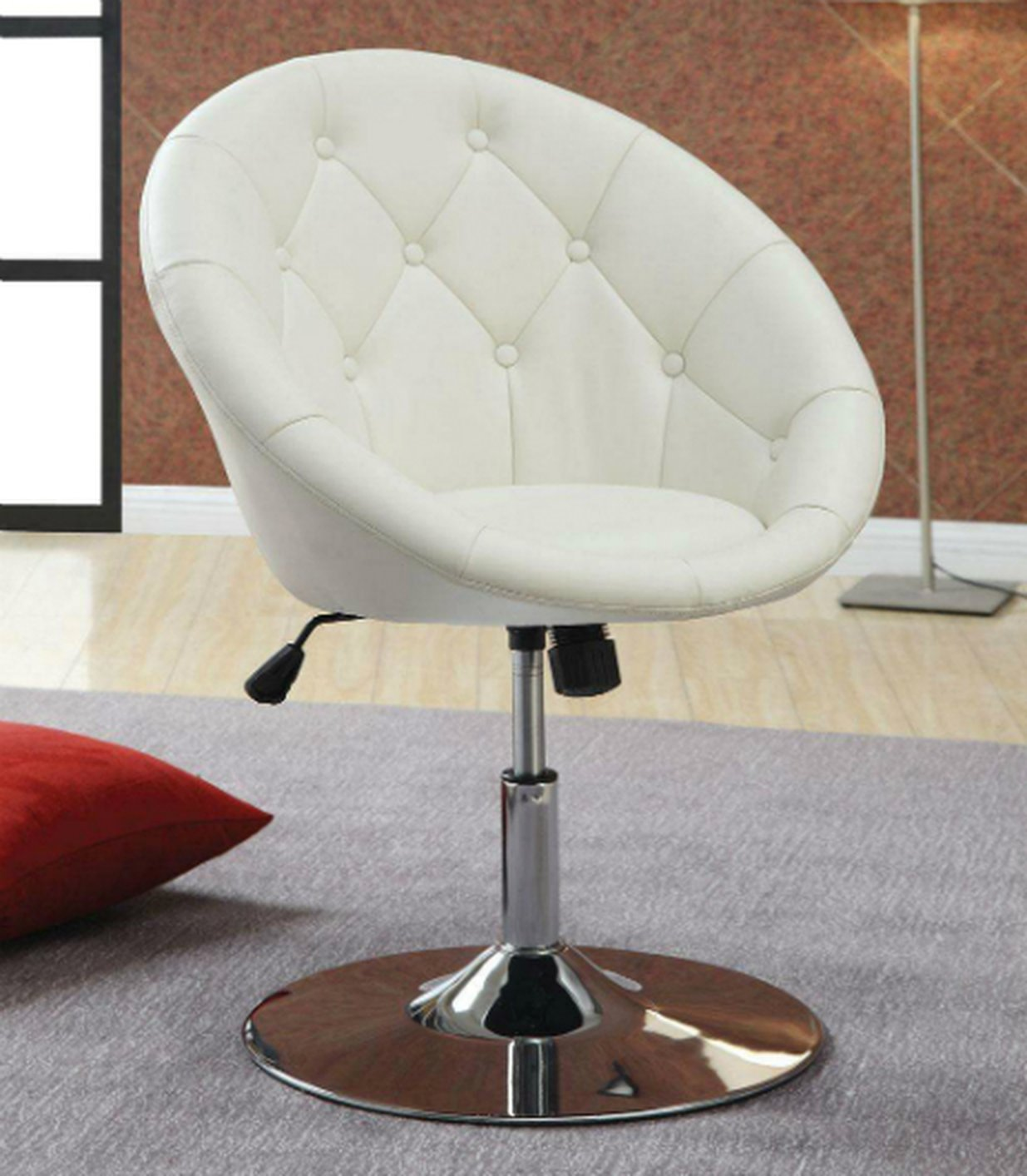 Coaster 102583 White Leather Swivel Chair Steal A Sofa