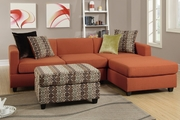 Maribel Orange Fabric Sectional Sofa