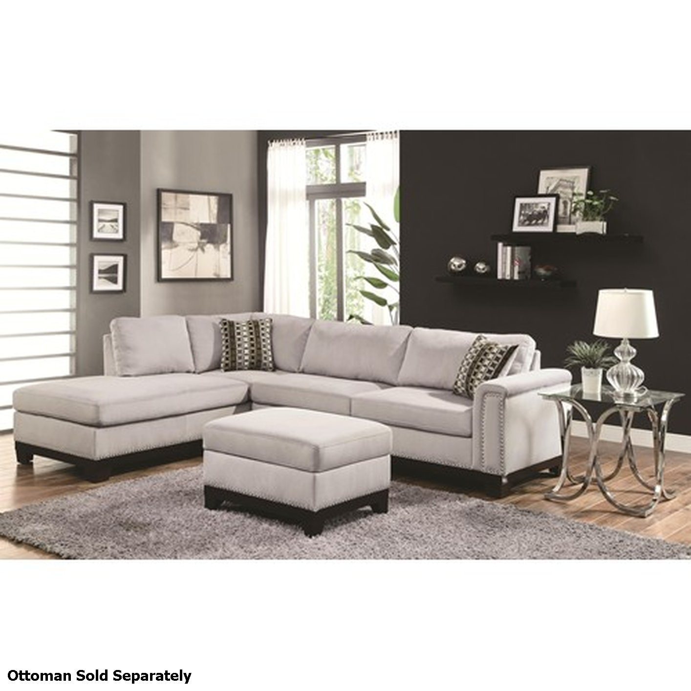 Mason White Leather Sofa: Coaster Mason 503615 Grey Fabric Sectional Sofa