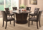 Milton Cappuccino Wood And Marble Dining Table
