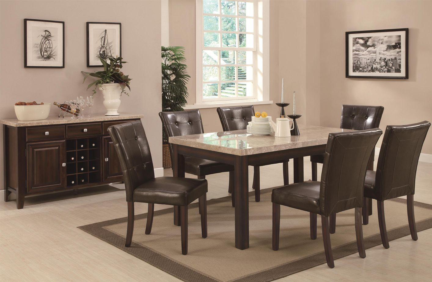 Marvelous photograph of  103771 103772 Brown Wood And Marble Dining Table Set In Los Angeles Ca with #A37428 color and 1414x922 pixels