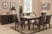 Milton Cappuccino Wood And Marble Dining Table Set