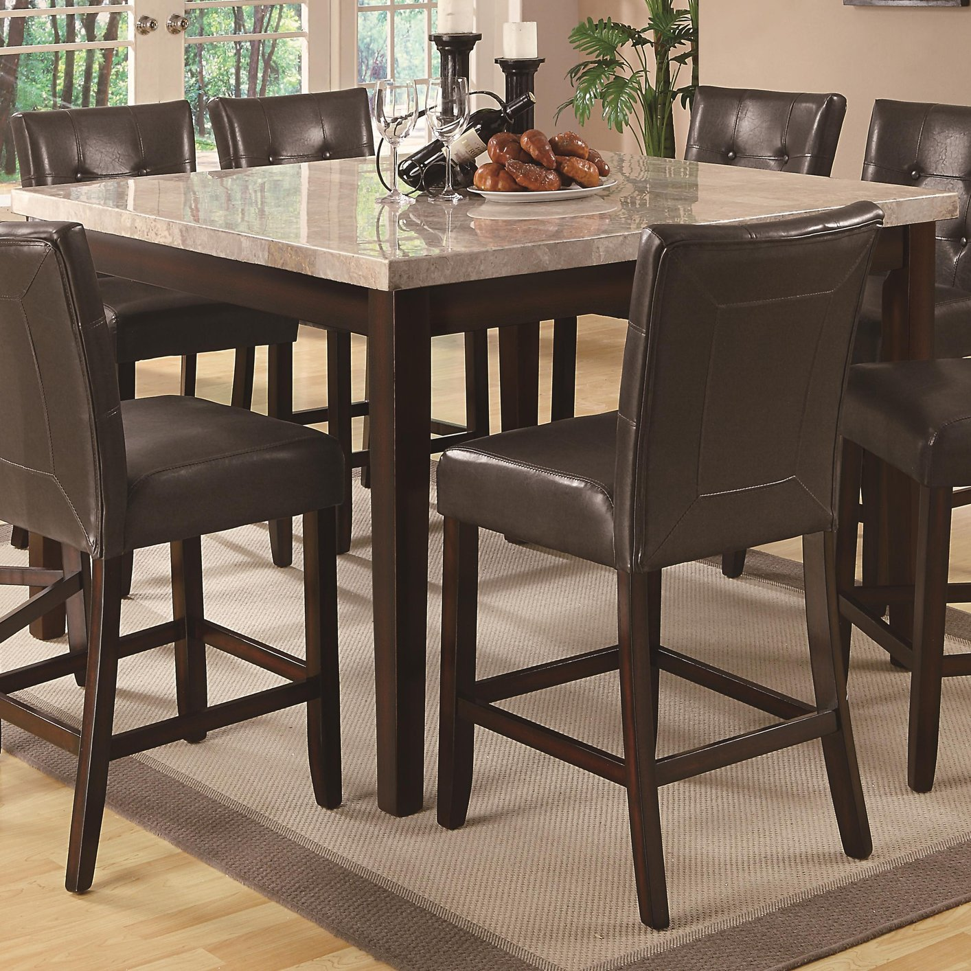 Coaster 103778 Brown Marble Dining Table Steal A Sofa