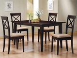 Miranda Cross Cappuccino Wood Dining Table Set