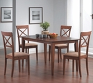 Miranda Cross Warm Walnut Wood Dining Table Set
