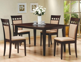 Miranda Cushion Cappuccino Wood Dining Table Set