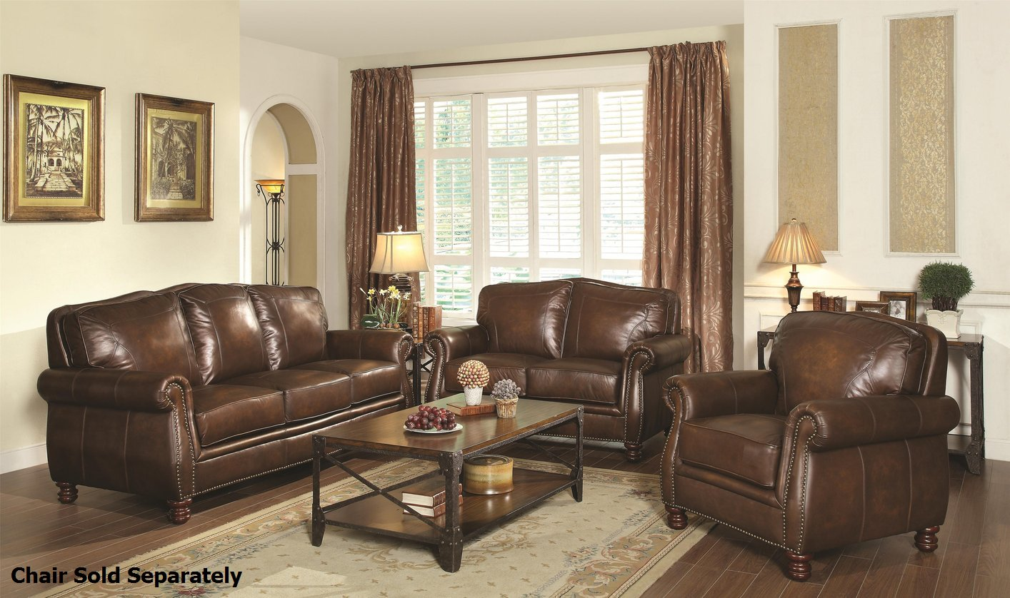 Lovely Brown Leather Couch Set