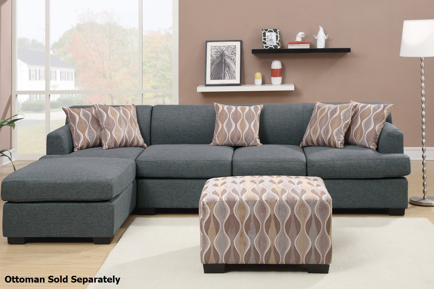 Poundex montreal iii f7971 f7973 grey fabric sectional sofa steal a sofa fu - Chaise design montreal ...