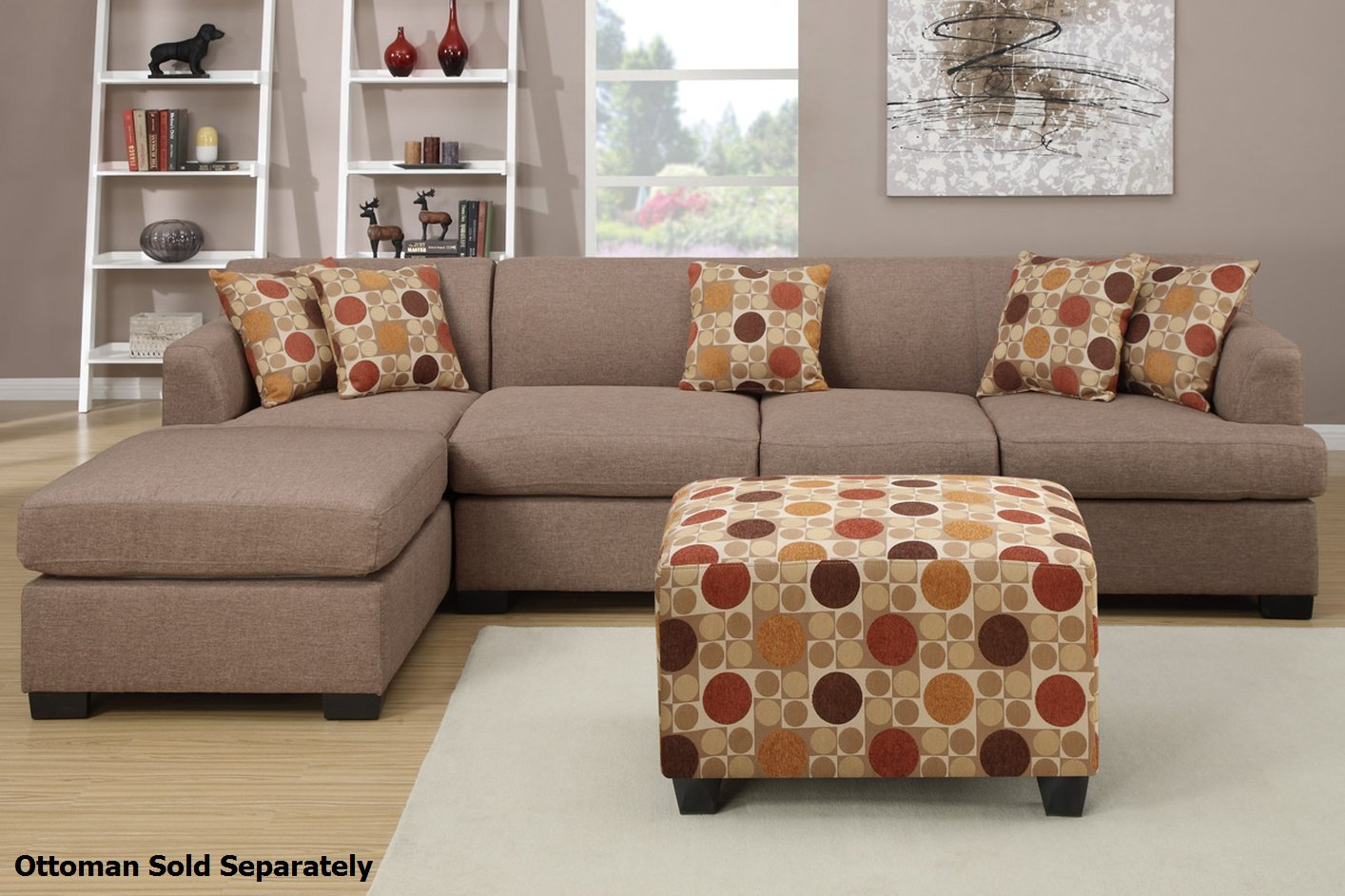 Poundex Montreal Iii F7966 F7968 Beige Fabric Sectional
