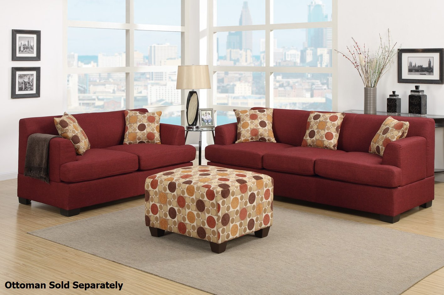 Poundex Montreal F7963 F7962 Red Fabric Sofa And Loveseat