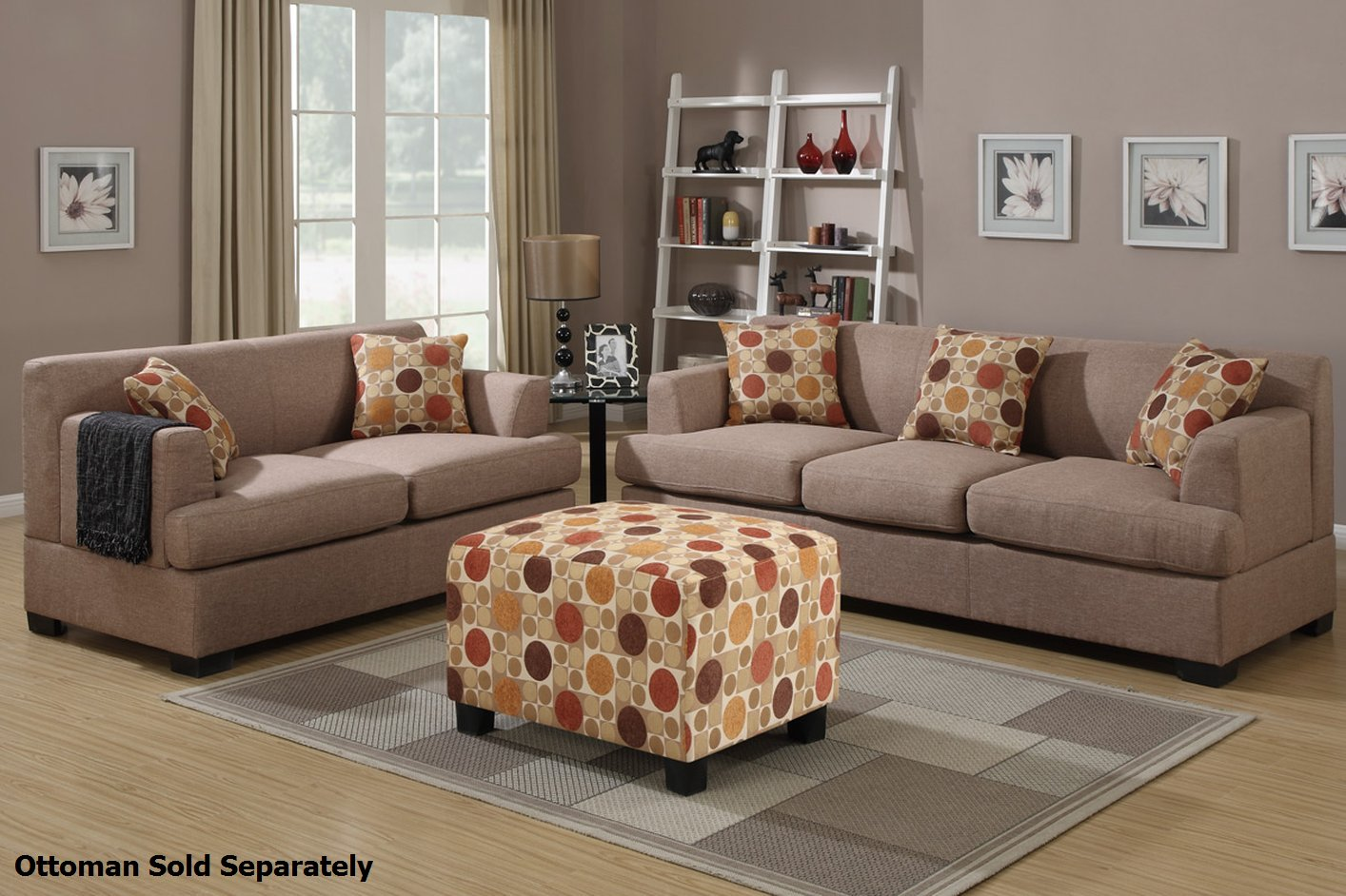 Poundex Montreal F7968 F7967 Beige Fabric Sofa And