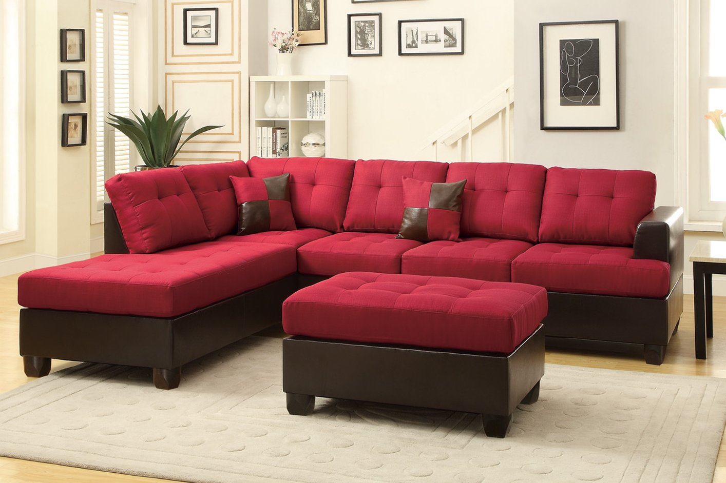 Poundex Moss F7601 Red Fabric Sectional Sofa And Ottoman