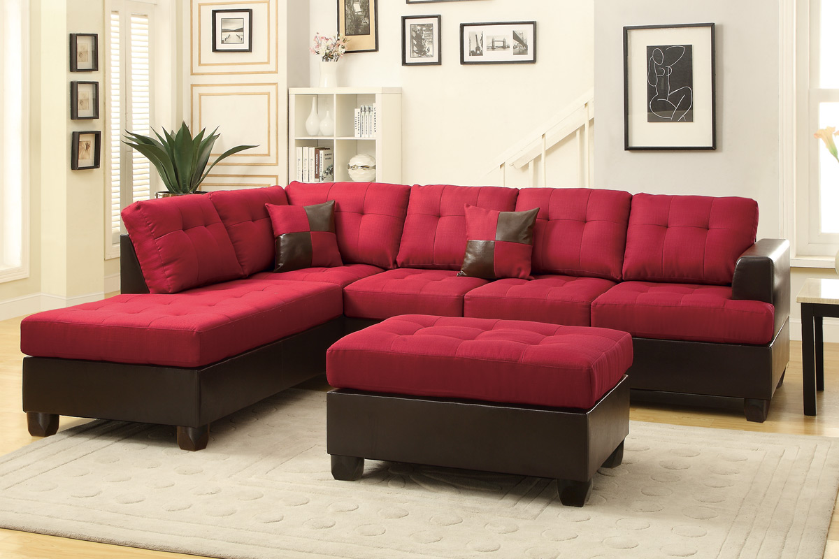 Poundex Moss F7601 Red Leather Sectional Sofa And Ottoman