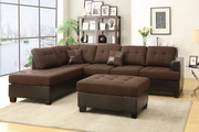 Moss Chocolate Fabric Sectional Sofa and Ottoman