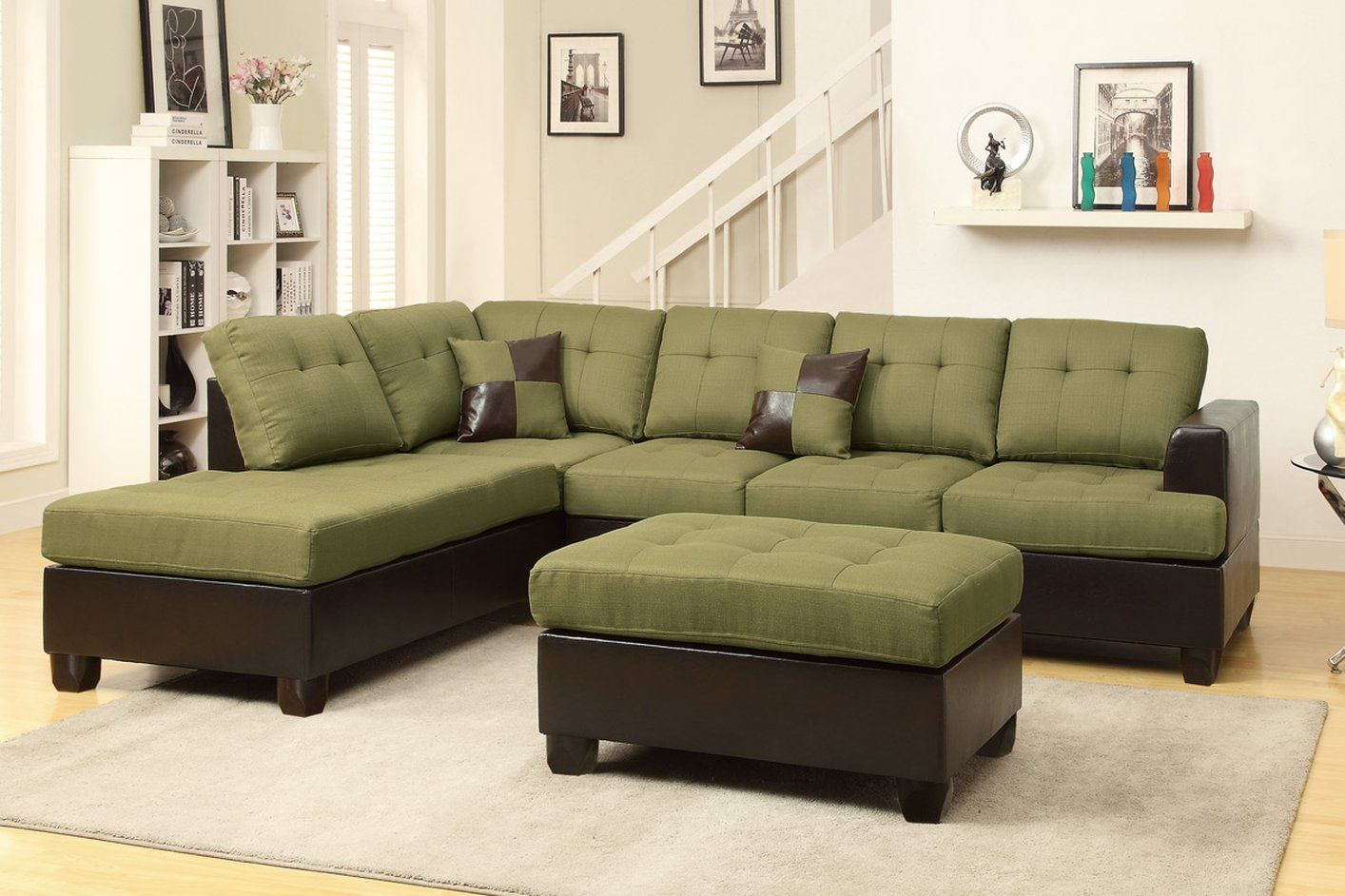 Poundex Moss F7604 Green Fabric Sectional Sofa and Ottoman  : moss peridot fabric sectional sofa and ottoman 22 from www.stealasofa.com size 1414 x 942 jpeg 177kB