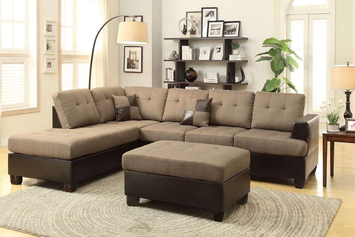 Poundex Moss F7603 Brown Leather Sectional Sofa And