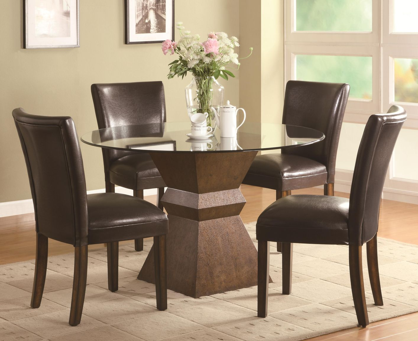 102800 103053 brown wood and glass dining table set in los angeles ca
