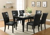 Newbridge Cappuccino Wood And Marble Dining Table Set