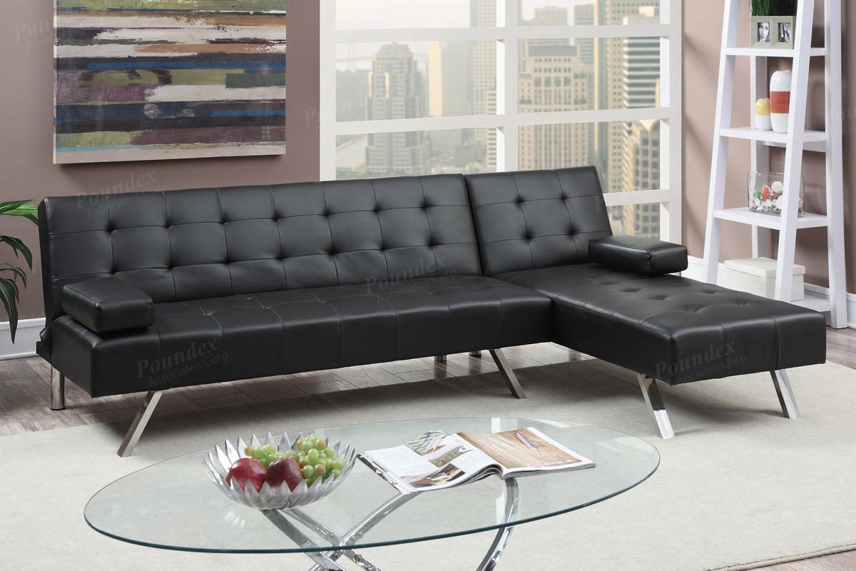 Poundex Nit F7886 Black Leather Sectional Sofa Bed Steal