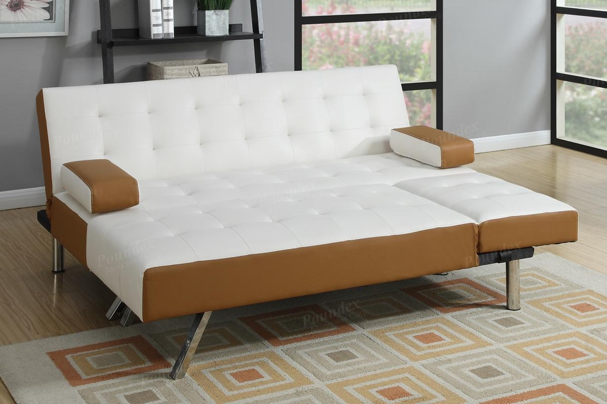 Poundex Nit F7887 White Leather Sectional Sofa Bed Steal