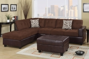 Odalis Chocolate Microfiber Sectional Sofa