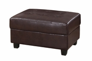 Odell Chocolate Faux Leather Ottoman