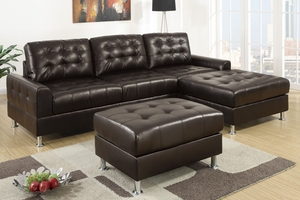 Olander Espresso Bonded Leather Sectional Sofa
