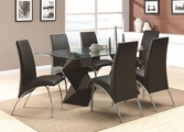 Ophelia Black Wood And Glass Dining Table Set