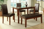 Brown Leather Dining Table and Chair Set