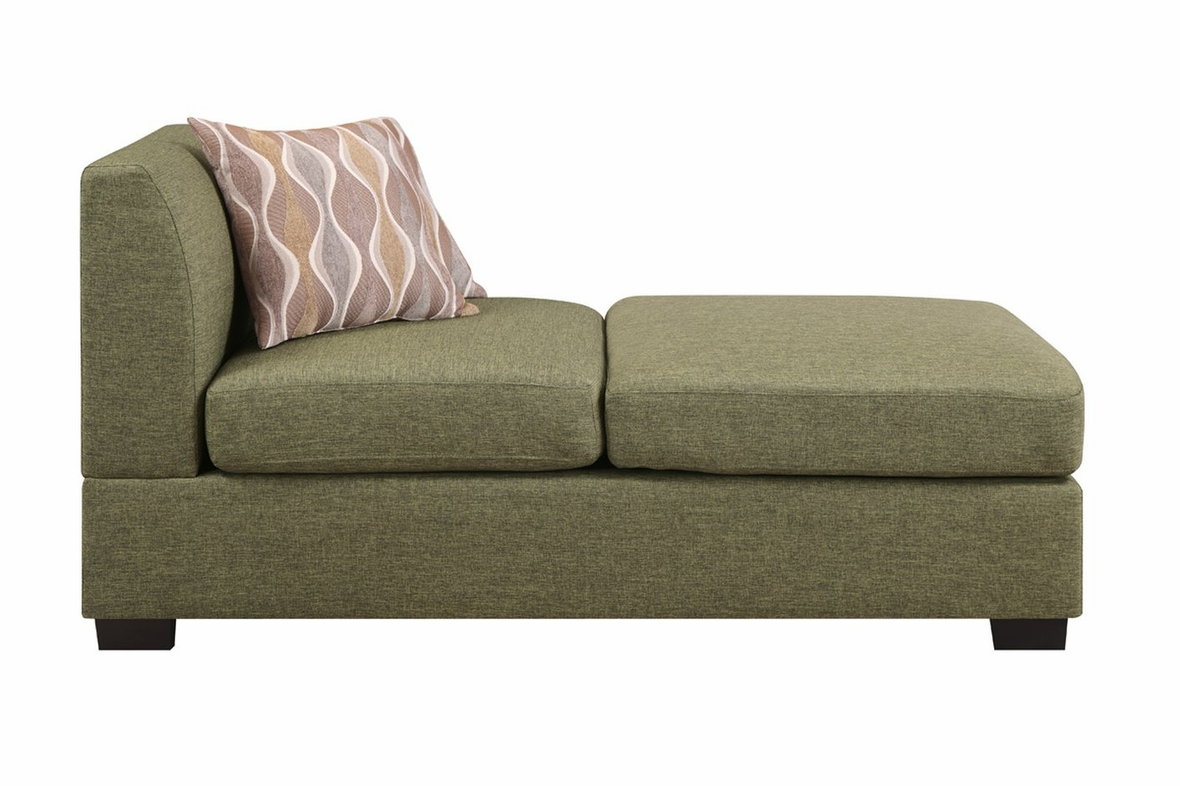 Poundex F7976 Green Fabric Chaise Lounge Steal A Sofa