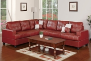 Pershing Burgundy Leather Sectional Sofa