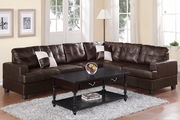 Pershing Espresso Leather Sectional Sofa