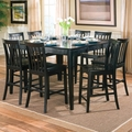Pines 9PC Black Wood Pub Table Set
