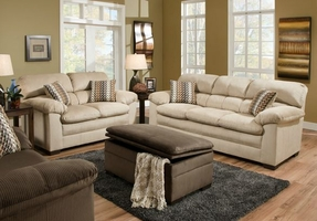 Plaza Driftwood Fabric Sofa And Loveseat Set