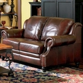 Princeton Brown Leather Loveseat