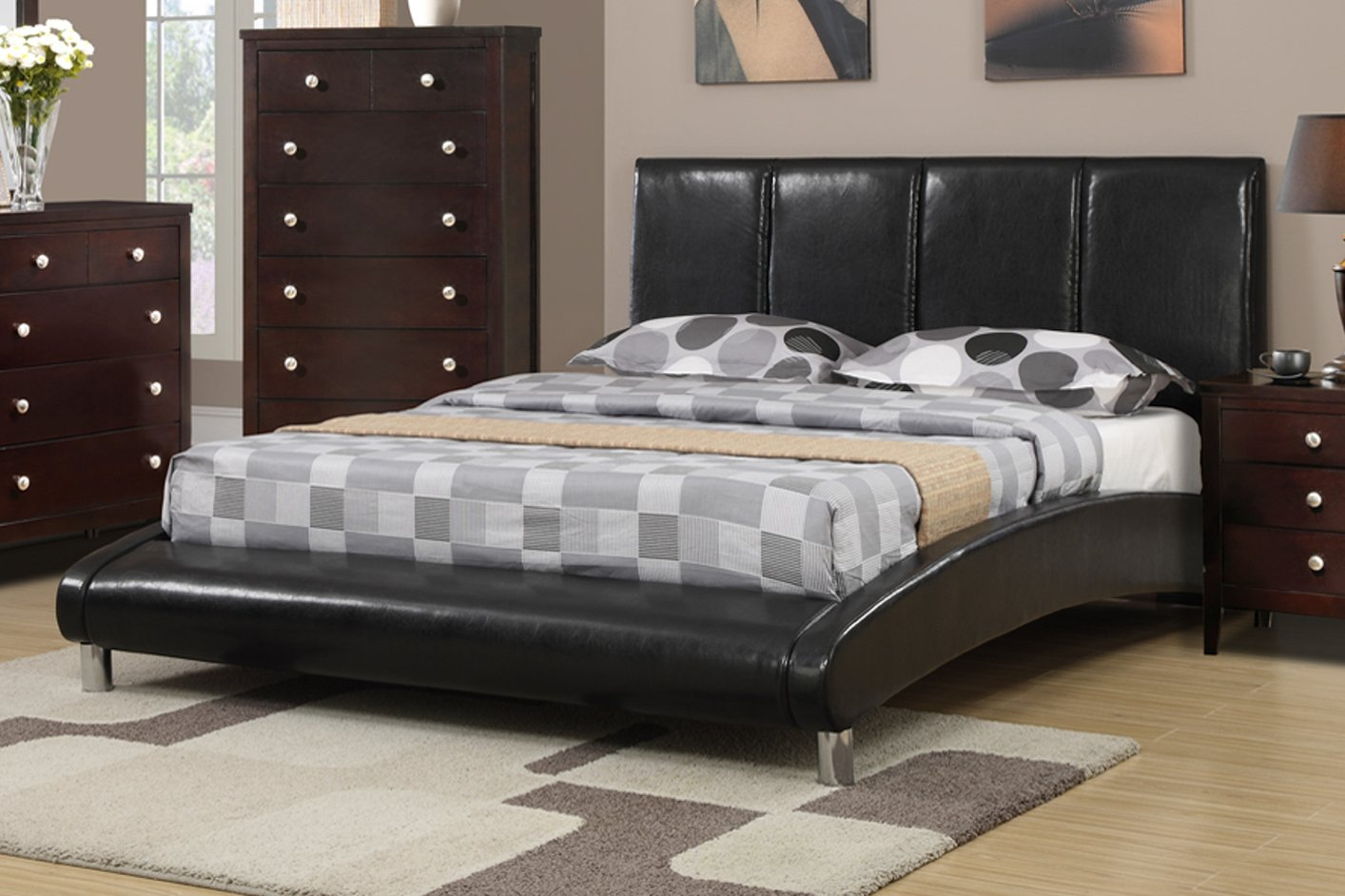 Poundex F9240q Black Queen Size Leather Bed Steal A Sofa