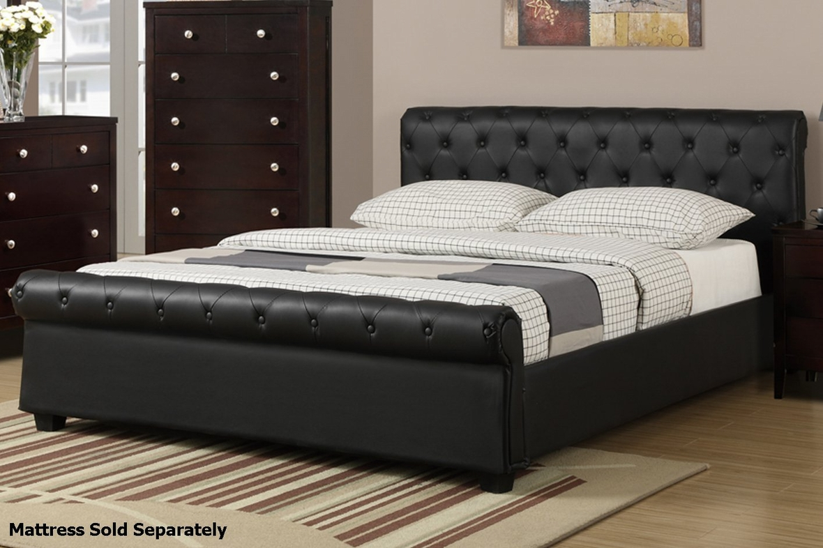 Poundex F9246Q Black Queen Size Leather Bed Steal A Sofa Furniture Outlet Los Angeles CA